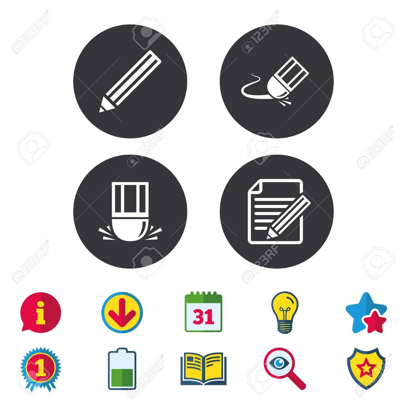 Pencil icon Edit document file Eraser sign Correct drawing symbol Calendar Information and Download signs Stars Award and Book icons Light bulb Shield and Search Vector
