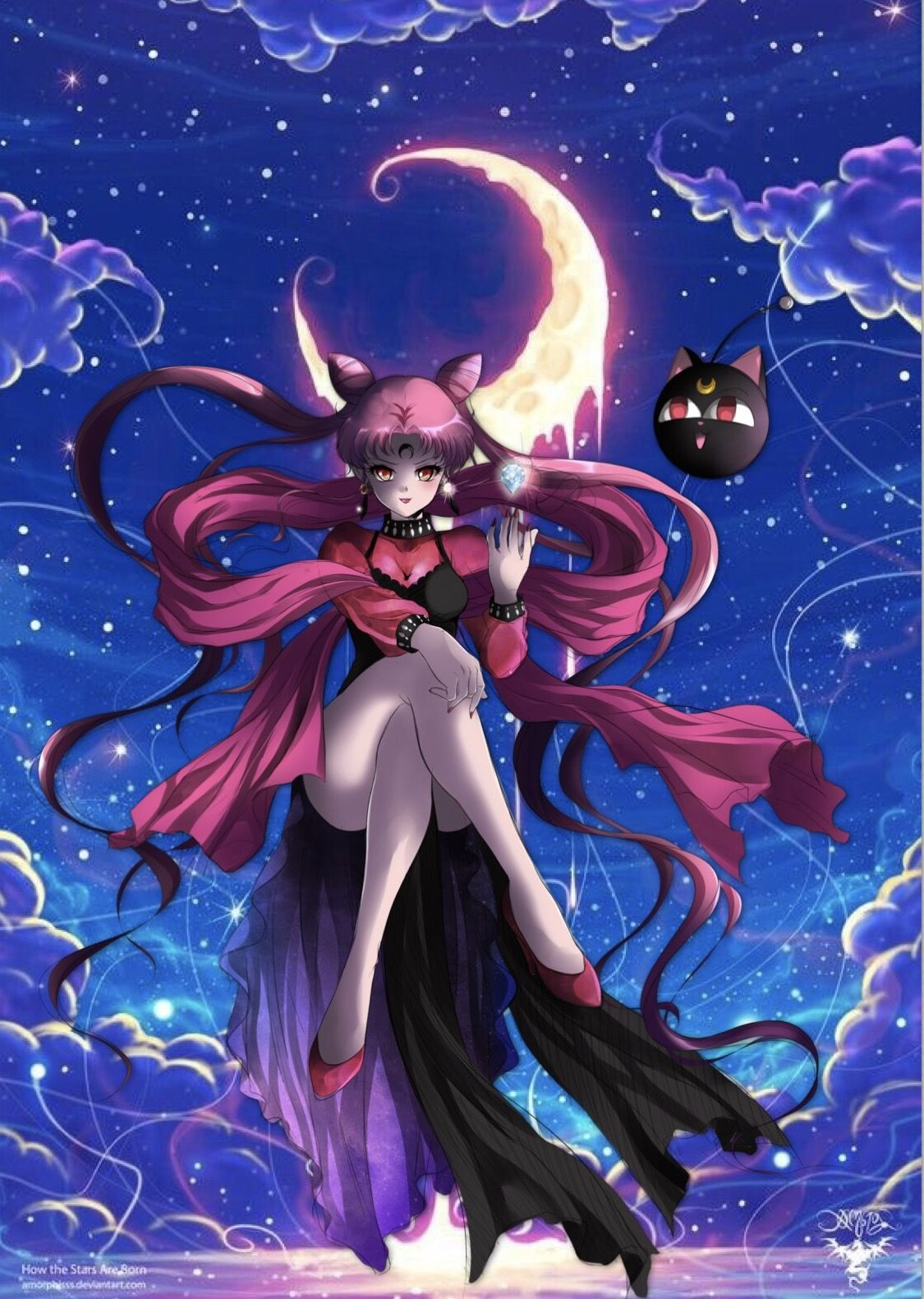 Black Lady Sailor Moon Wallpaper Sailor Mini Moon Sailor Moon Art