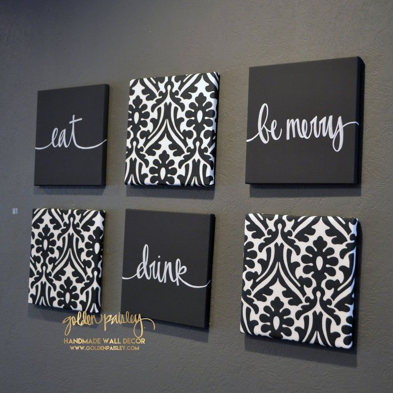 Black Dining Room Wall Art Set  Eat Drink and Be Merry Living   Etsy