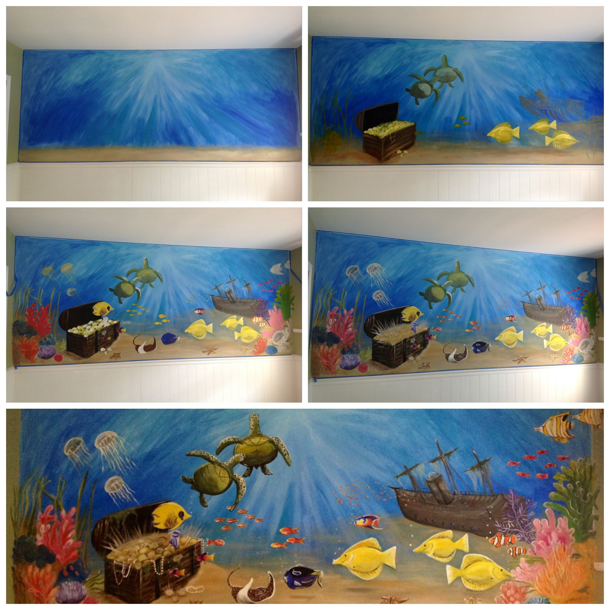 underwater themed murals for children s rooms by mural magic in my underwater mural in steps