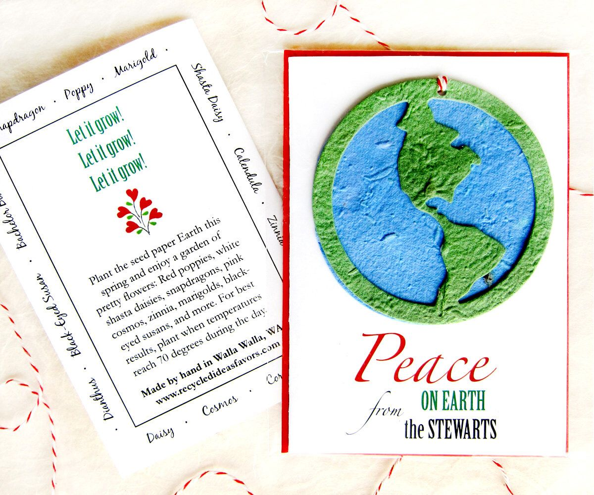 Seed Paper Peace On Earth Plantable Christmas Card Choose Flower