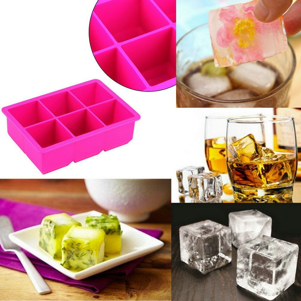 6-Cavity Large Silicone Drink Ice Cube Pudding Jelly Soap Mould Tray Tool 2Y