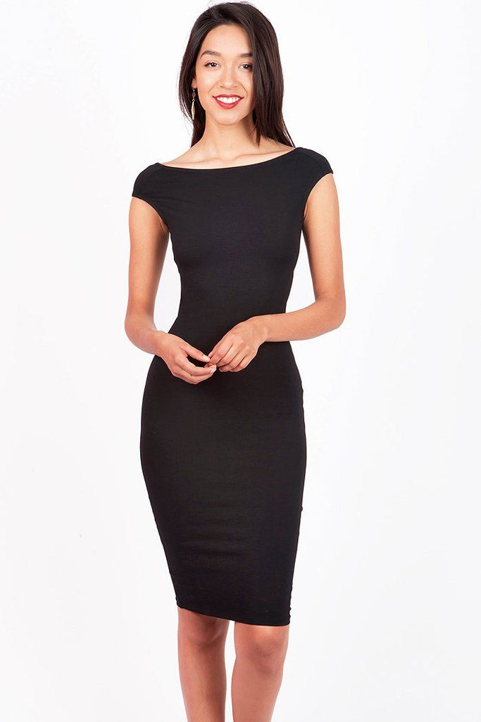 """Sexy cocktail dress with a slim fit short sleeves and a cross over back. Stretchy fit and super comfortable. Make some noise in this awesome little black dress! *Hand Wash Cold*94% Cotton 6% Spandex*38""""/96cm Top to Bottom - measured on a size S (Model is 5'10/wearing a size S)*Imported"""