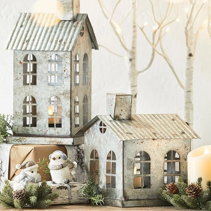 Add Beauty And Farmhouse Charm To Your Home This Holiday Season With These Rusty Galvanized Metal House Shaped House Candle Holder Christmas House Home Candles
