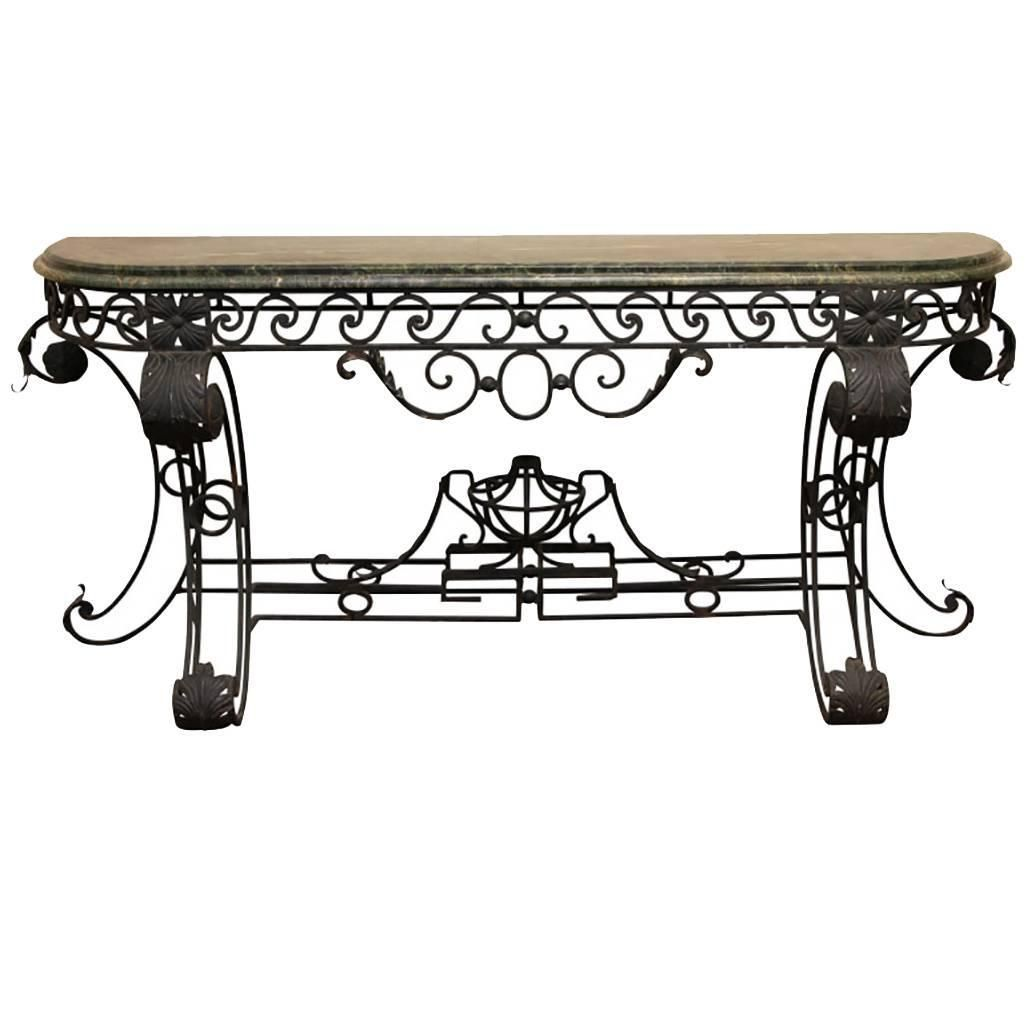 Neoclassical Style Wrought Iron Console Table Having A Marble Top