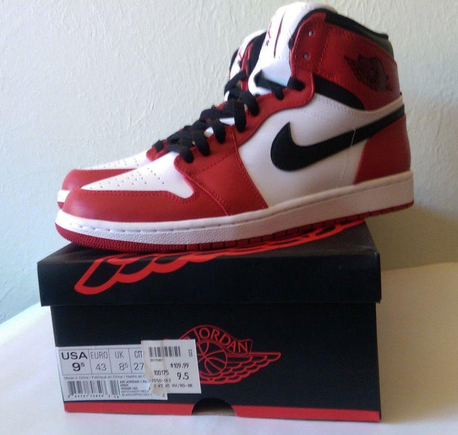 2013 NIKE AIR JORDAN 1 CHICAGO RETRO HIGH VARSITY RED BLACK