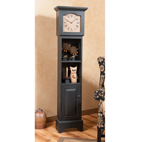 grandfather clock with shelves in black country clocks pinterest rh pinterest com Howard Miller Grandfather Clock Howard Miller Grandfather Clock