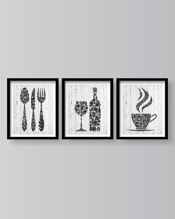 Dark Grey Kitchen Wall Art Prints Set Decoracao Cozinha Quadros Quadrinhos Decorativos Para Cozinha Quadros Para Cozinha
