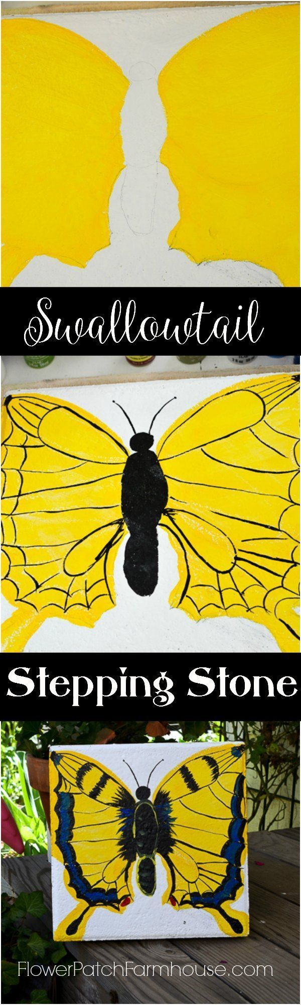 Turn a plain cement paver into Garden Art How to Paint a Swallowtail Butterfly Turn a plain cement paver into Garden Art How to Paint a Swallowtail Butterfly