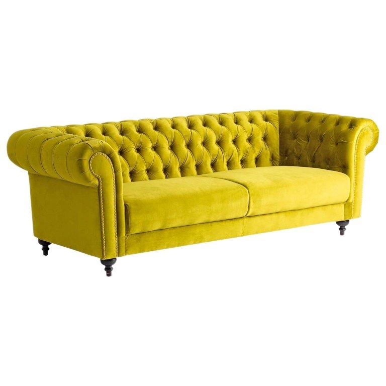 Lenita Chesterfield Green Velvet Accent Chair: Green Velvet And Black Wooden Feet Chesterfield Sofa
