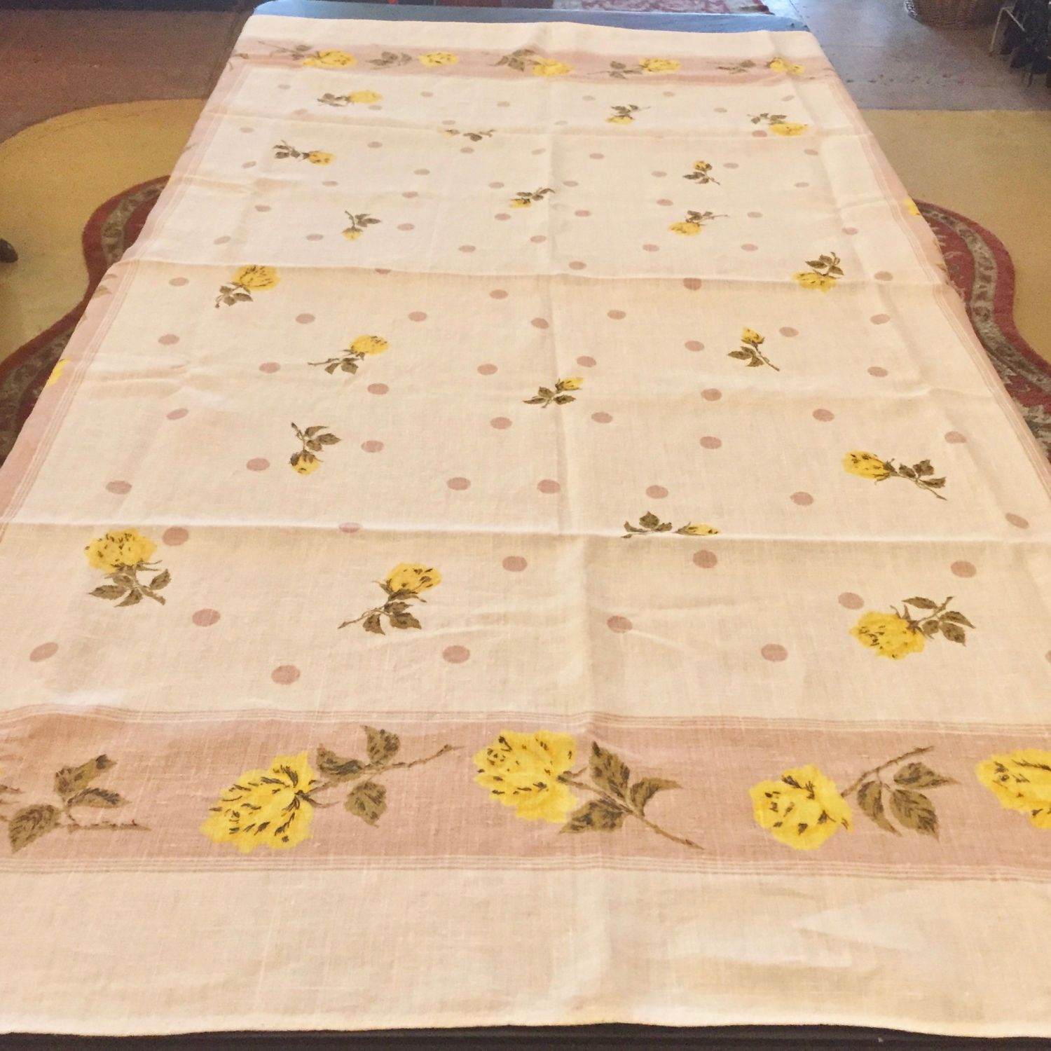 Vintage 1950s   1960s Linen Tablecloth, Yellow Roses U0026 Brown Polka Dots By  SweetLittleVillage On