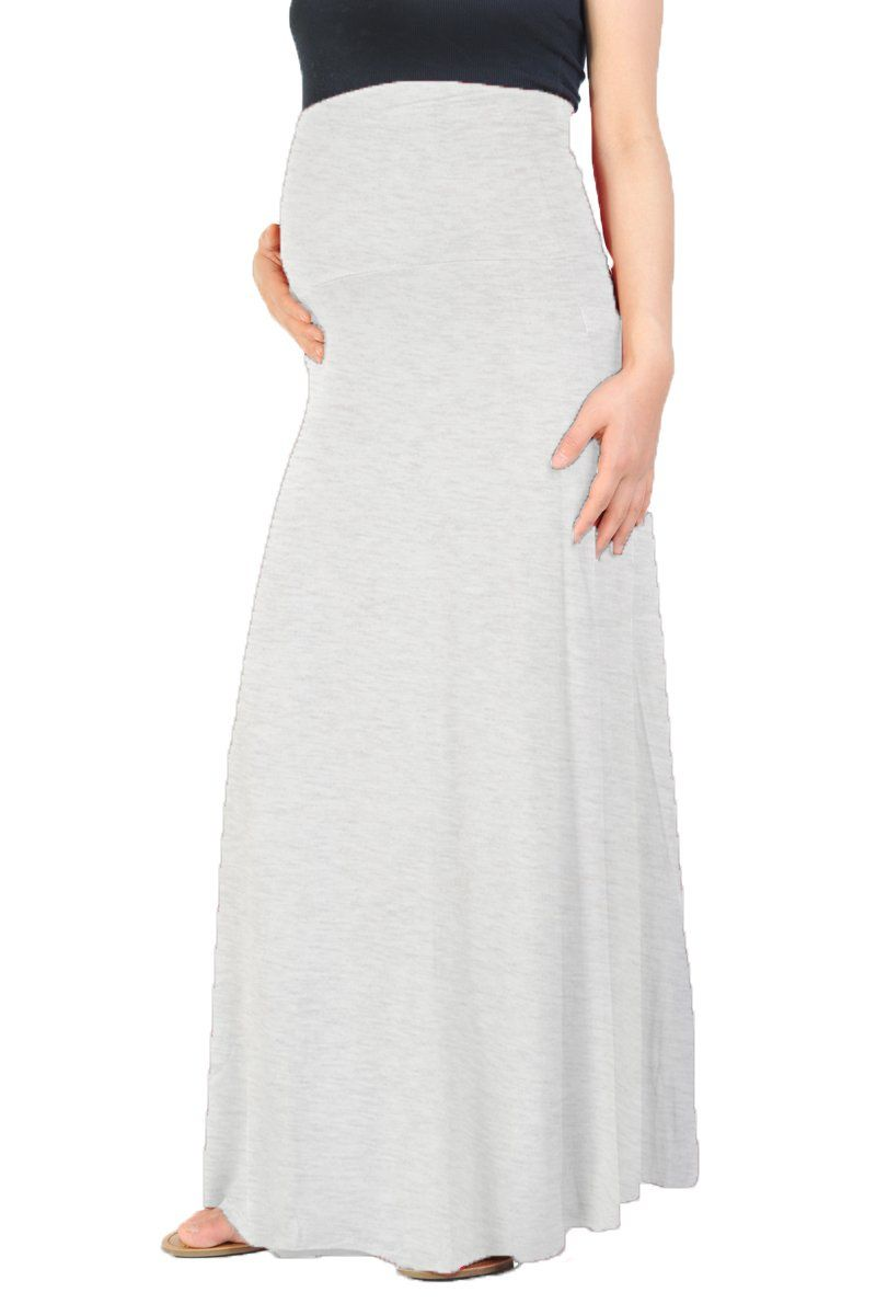 90670af391e Beachcoco Women s Maternity High Waisted Fold Over Maxi Skirt at Amazon  Women s Clothing store