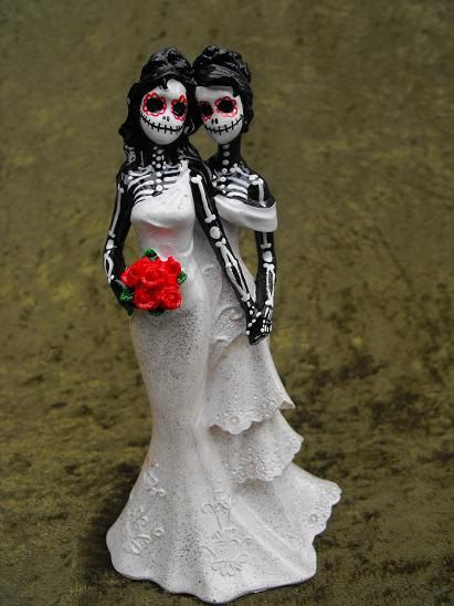 Day of the Dead WEDDING CAKE TOPPER - Two Women. $40.00, via Etsy ...