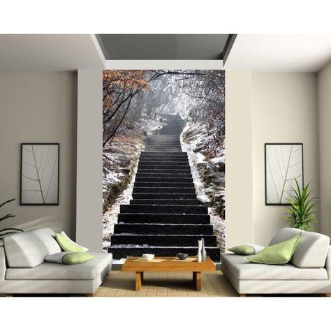 Sticker mural géant trompe loeil escalier art déco stickers