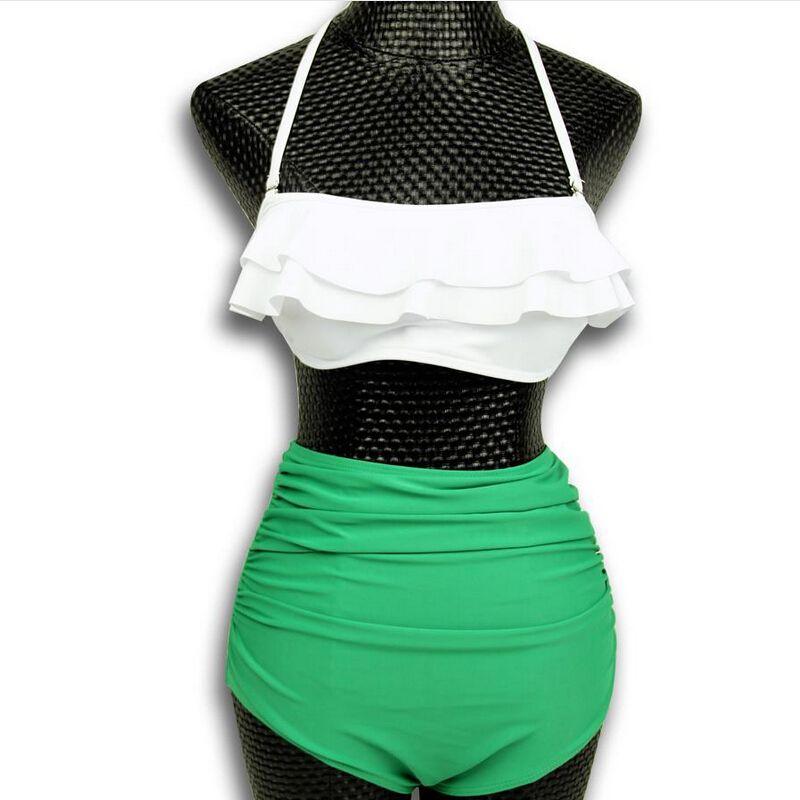 뜨거운 판매 유행 등이없는 높은 허리 비키니 수영복 여성 비치 수영복 flounced 접는 수영복 여성 bikinis 세트 biquini