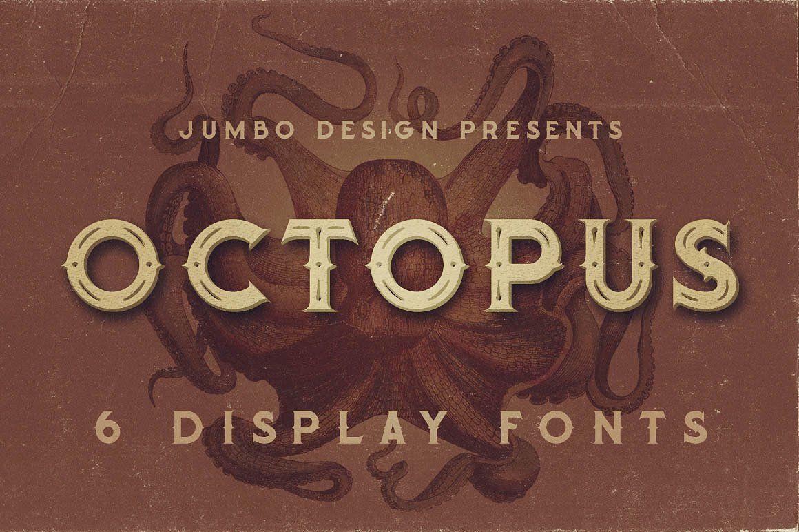 Octopus Vintage Style Font Vintage Fonts Retro Font Steampunk Font
