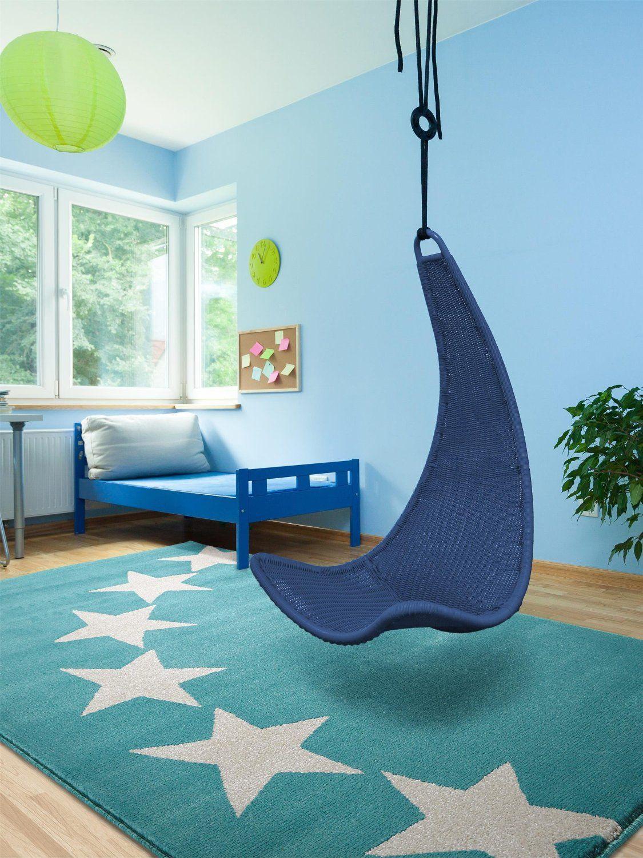 Moderner Designer Teppich Avalon Stars Blau 120x170 Cm