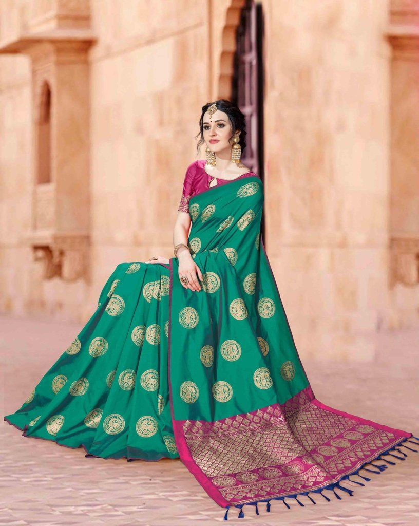 a25ba725c9a484 JADE GREEN SOUTH SILK SAREE WITH ZARI WEAVING AND CONTRAST BLOUSE ...