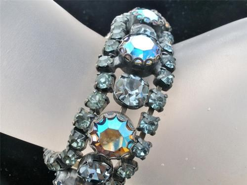 High End Regency Blue Aurora Borealis AB Prong Set Rhinestone Bracelet Vintage | eBay