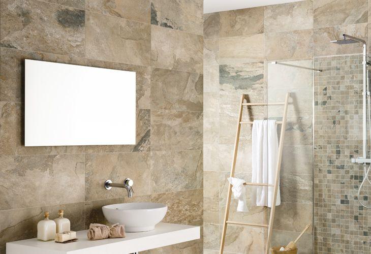 Rivestimento in gres porcellanato effetto pietra rivestimenti bagno pinterest autumn - Rivestimento bagno in pietra ...