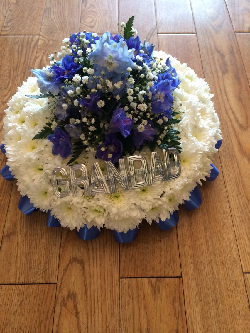 Blue Posy In Flowers With Grandad In Silver Letters Flowers Flower Arrangements Funeral Flowers