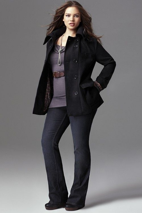 Torrid coat and denim #plussize - I would ditch the belt, but the rest is perfect.