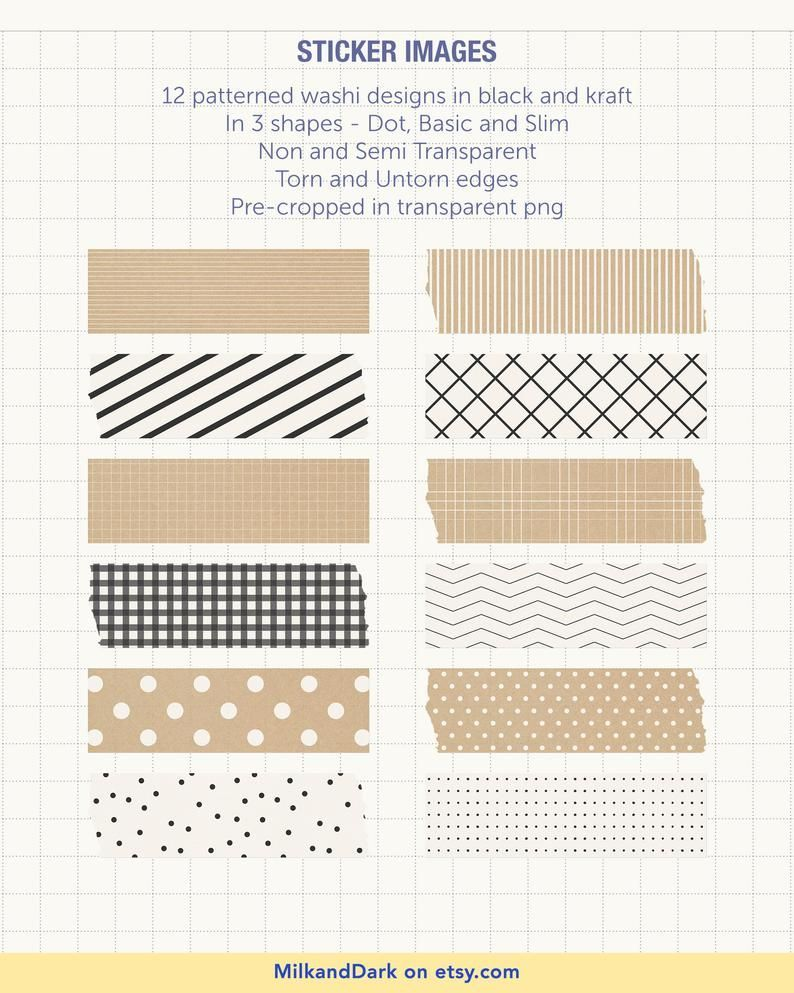 Digital Patterned Dot & Washi, Functional Planner Stickers, Black and