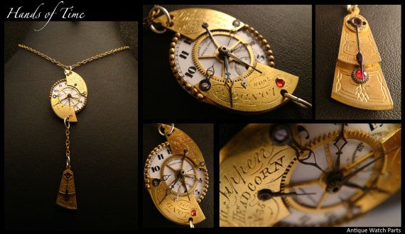 HANDS OF TIME Beautiful Steampunk drop pendant by AbsyntheDesign, $57.00