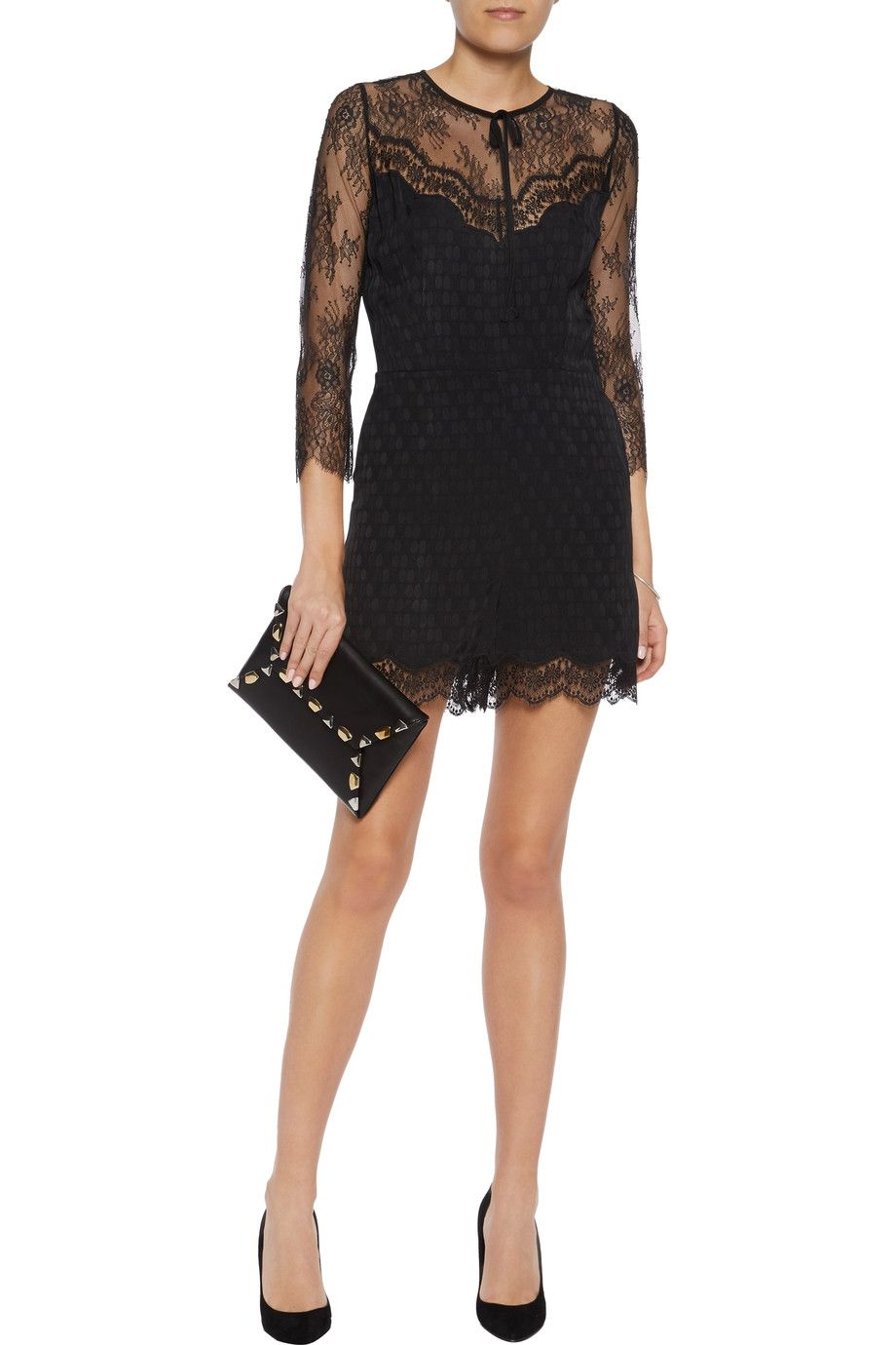 Shop on-sale Sandro Corded lace and polka-dot jacquard playsuit. Browse  other