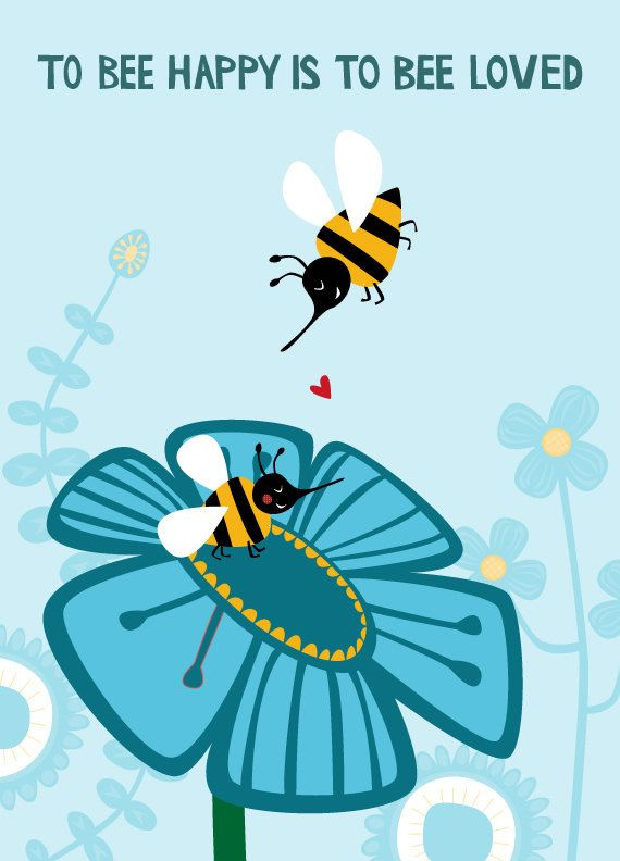 Greeting card... To bee happy is to bee loved.... €2.95, via Etsy - Valentine