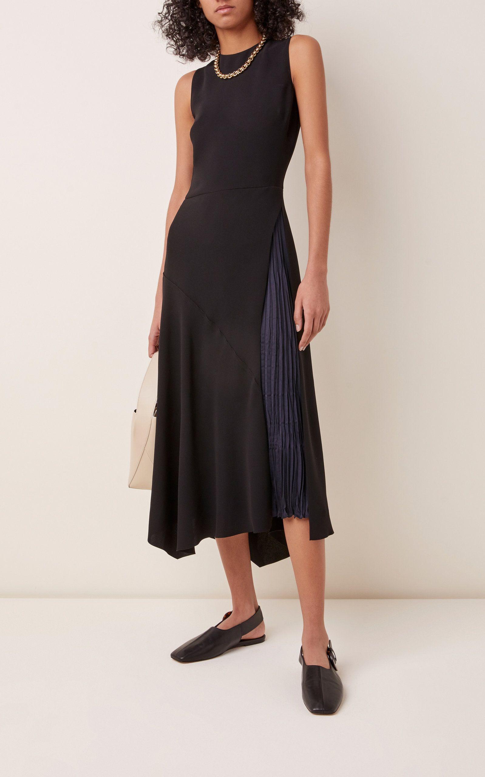 Vince Asymmetric Gauze Midi Dress Midi Dress Dresses Black Midi Dress [ 2560 x 1598 Pixel ]