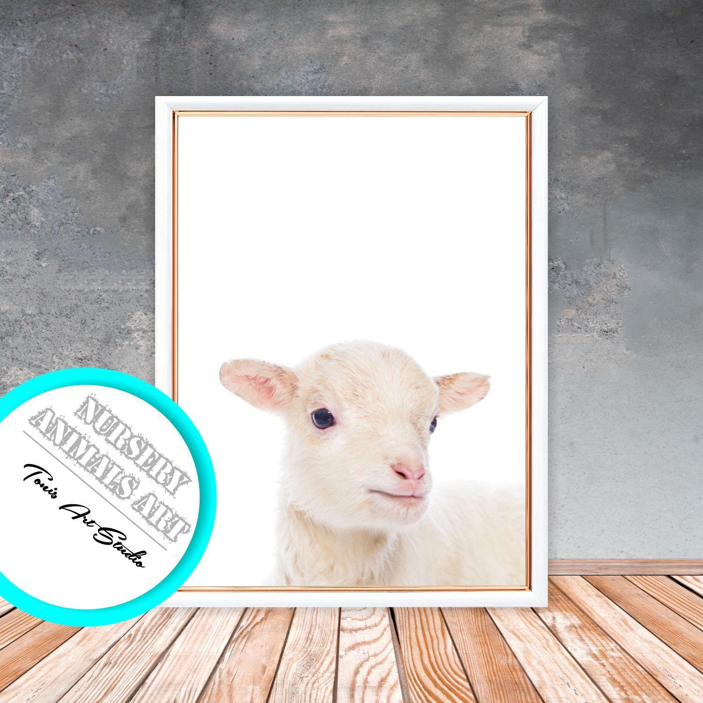 Lamb Print Nursery Wall Art Farm Animal Decor Digital