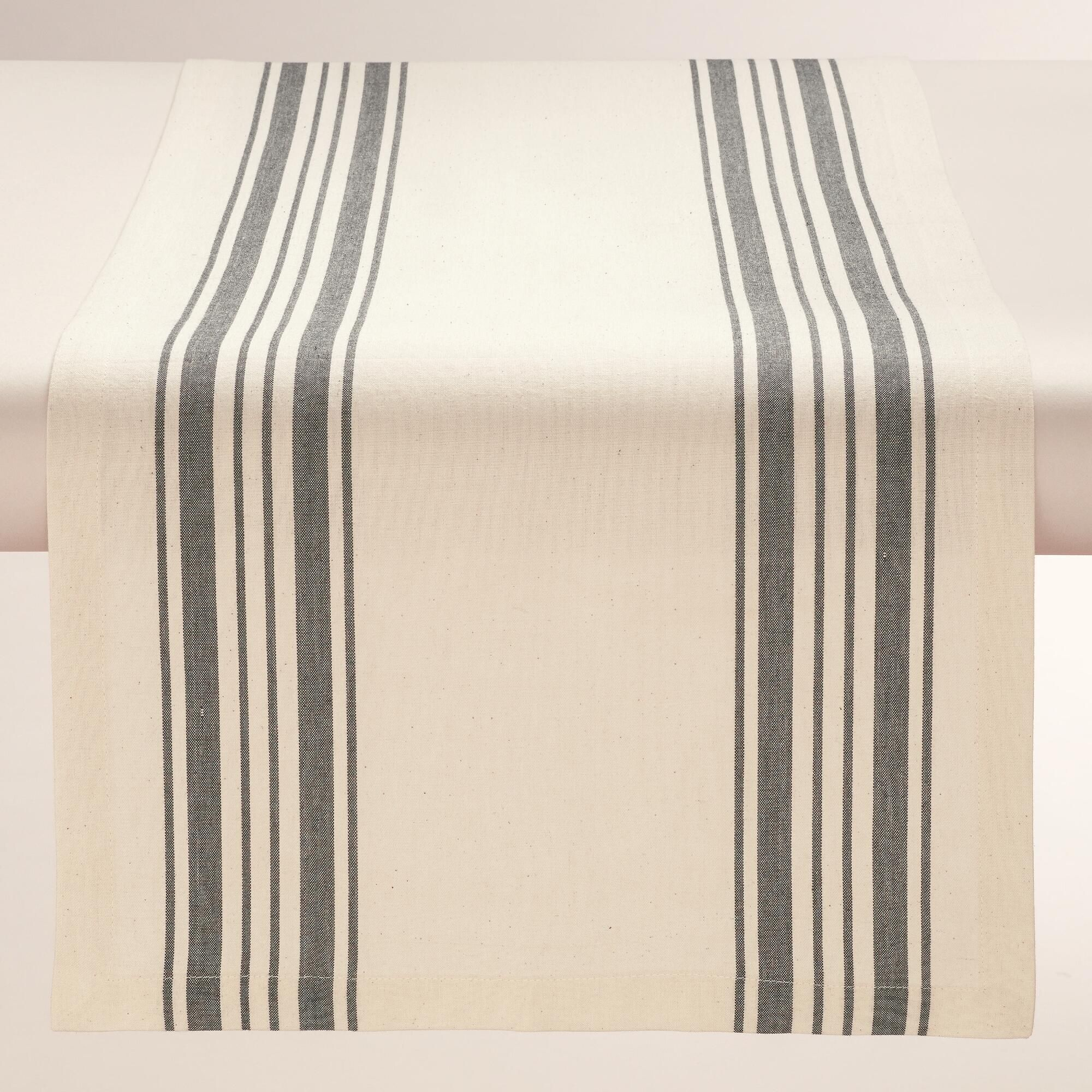 Casual and chic, our exclusive cotton table runner features a black French-style stripe pattern against a natural background. >> #WorldMarket French Romance