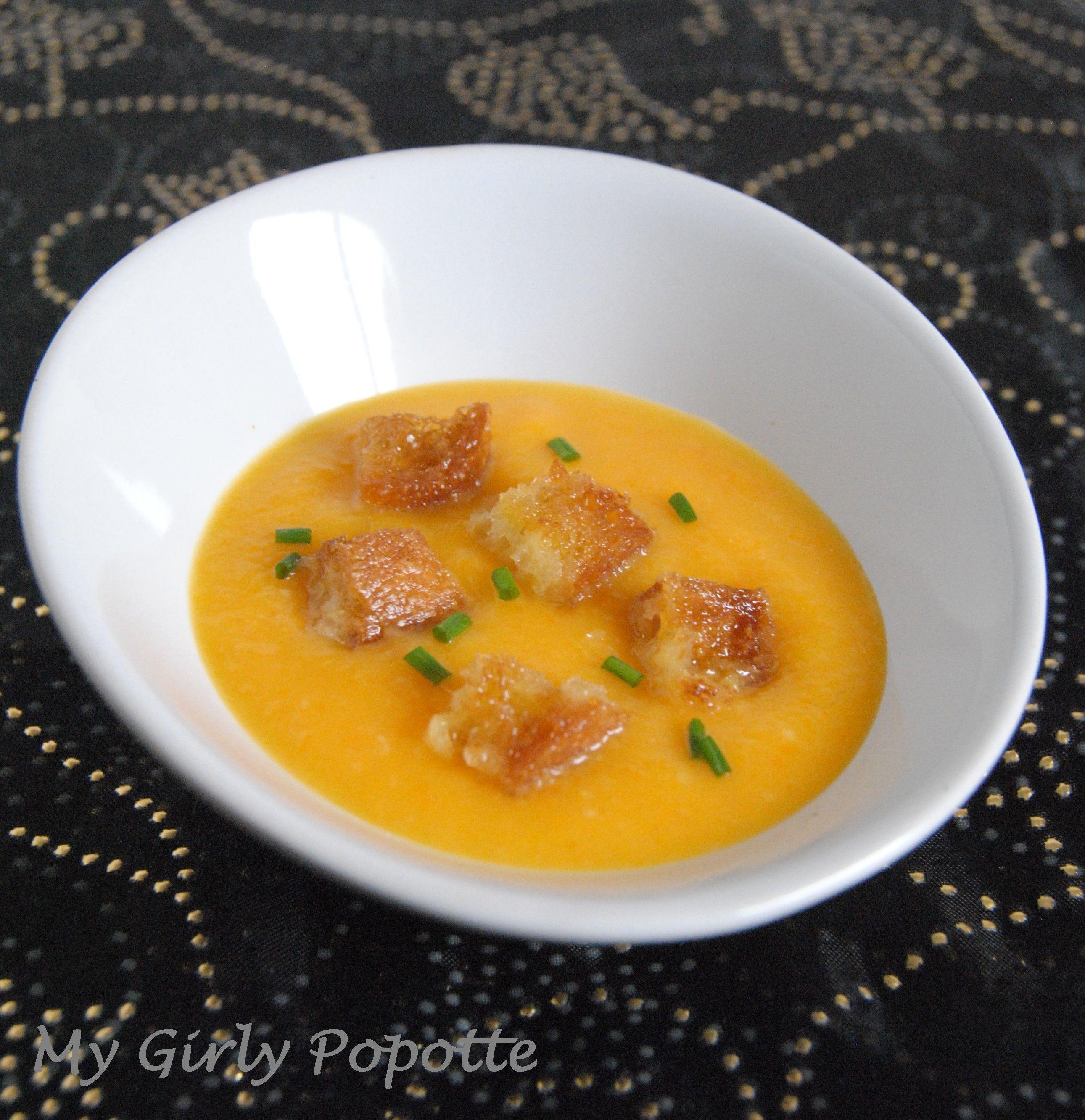 Velouté de courge butternut, carottes et ail blanc de Lomagne