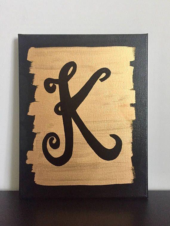 Unique Customized monogram acrylic painting on canvas, dorm decor ...