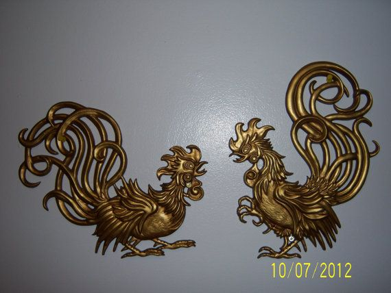Cast Metal Roosters Wall Hanging   Brass Toned Roosters Wall Decor   1960s  Gold Gilt Roosters
