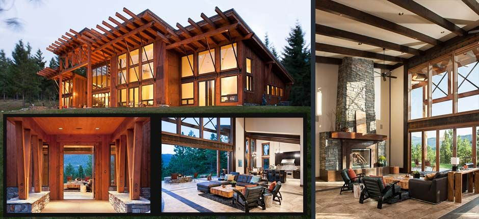 Modern timber frame home in washington debbie 39 s new for Contemporary timber frame home plans