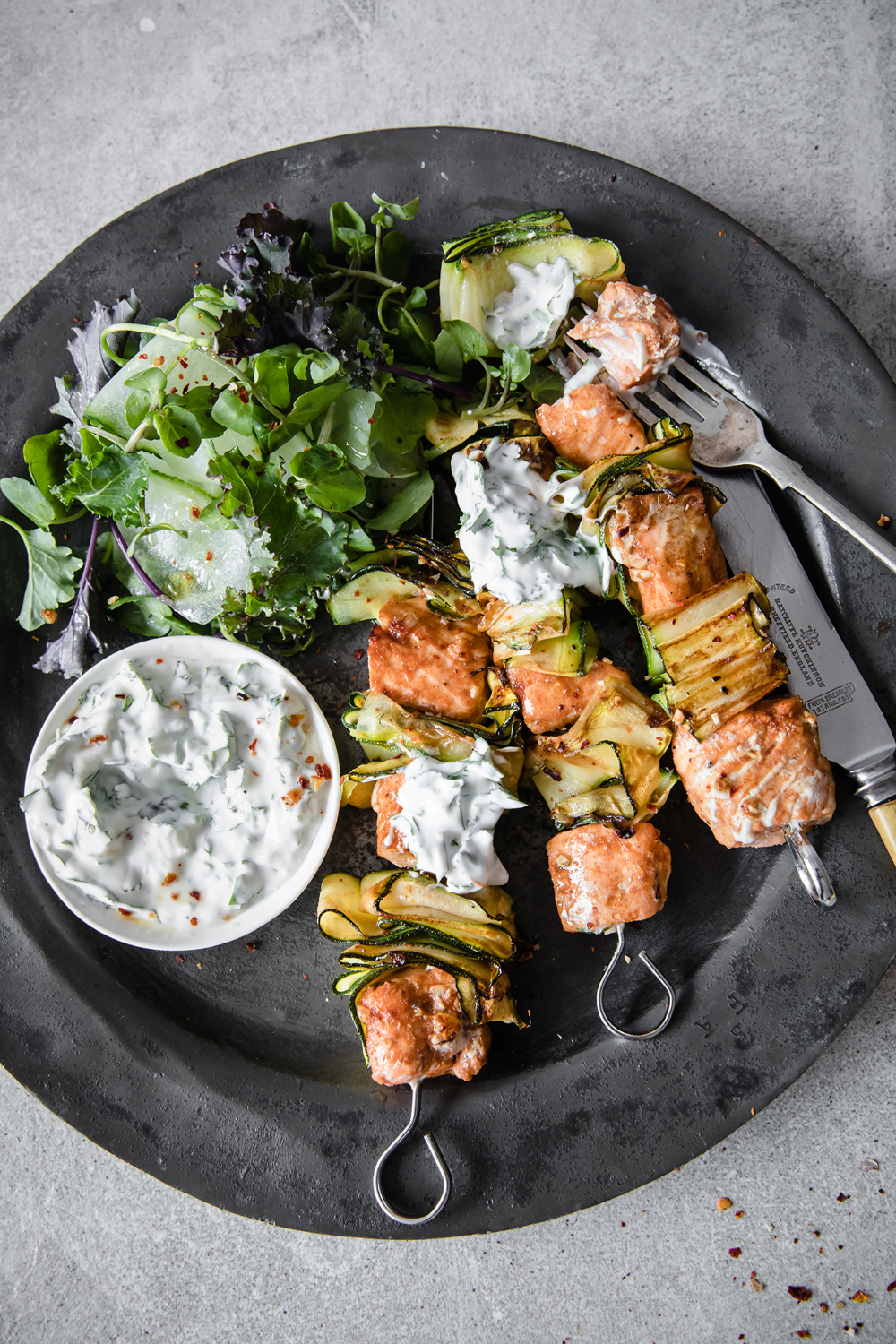 Paprika & Lime Salmon Kebabs With Herby Coconut Yoghurt I Modern Food Stories