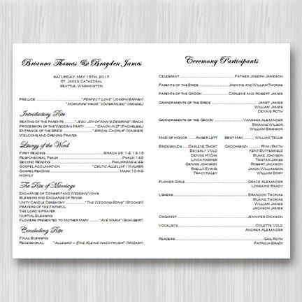 Catholic Wedding Program Faith Black White 85 X 11 Fold Worddoc Template Instant Download ALL COLORS Available DIY You Print