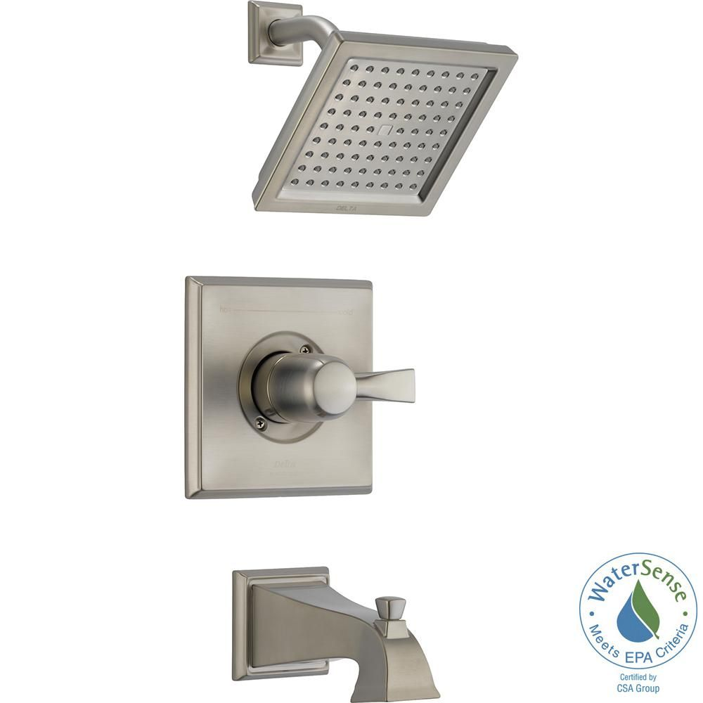 Delta Dryden 1 Handle Tub And Shower Faucet Trim Kit In Stainless Valve Not Included