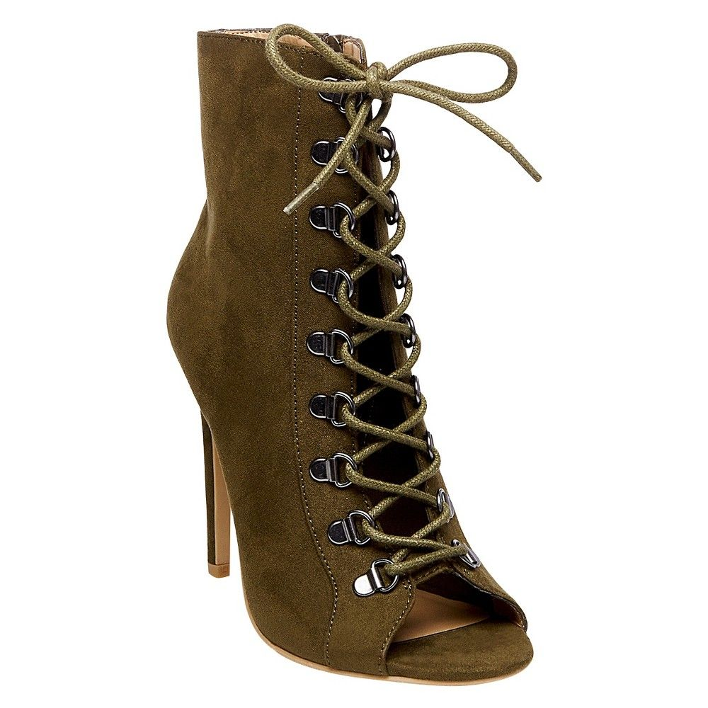 4f91c1648c96 Women s Wild Pair Kraze Lace Up Open Toe Booties - Olive (Green) 5.5 ...