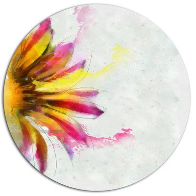 """DesignArt 'Sunflower Sketch Watercolor' Oil Painting Print on Metal Size: 38"""" H x 38"""" W x 1"""" D"""
