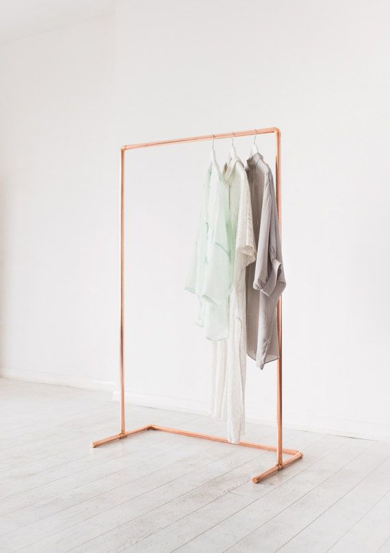 Minimal Copper Pipe Clothing Rail / Garment Rack / Clothes Storage / Retail Display #clothingracks