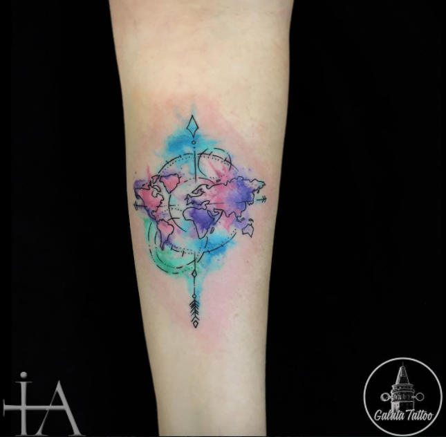 Compass world tattoo small tattoos pinterest compass tattoo compass world tattoo gumiabroncs Image collections
