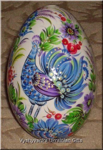 Ukrainian Petrykivka Egg Pysanka - blue bird