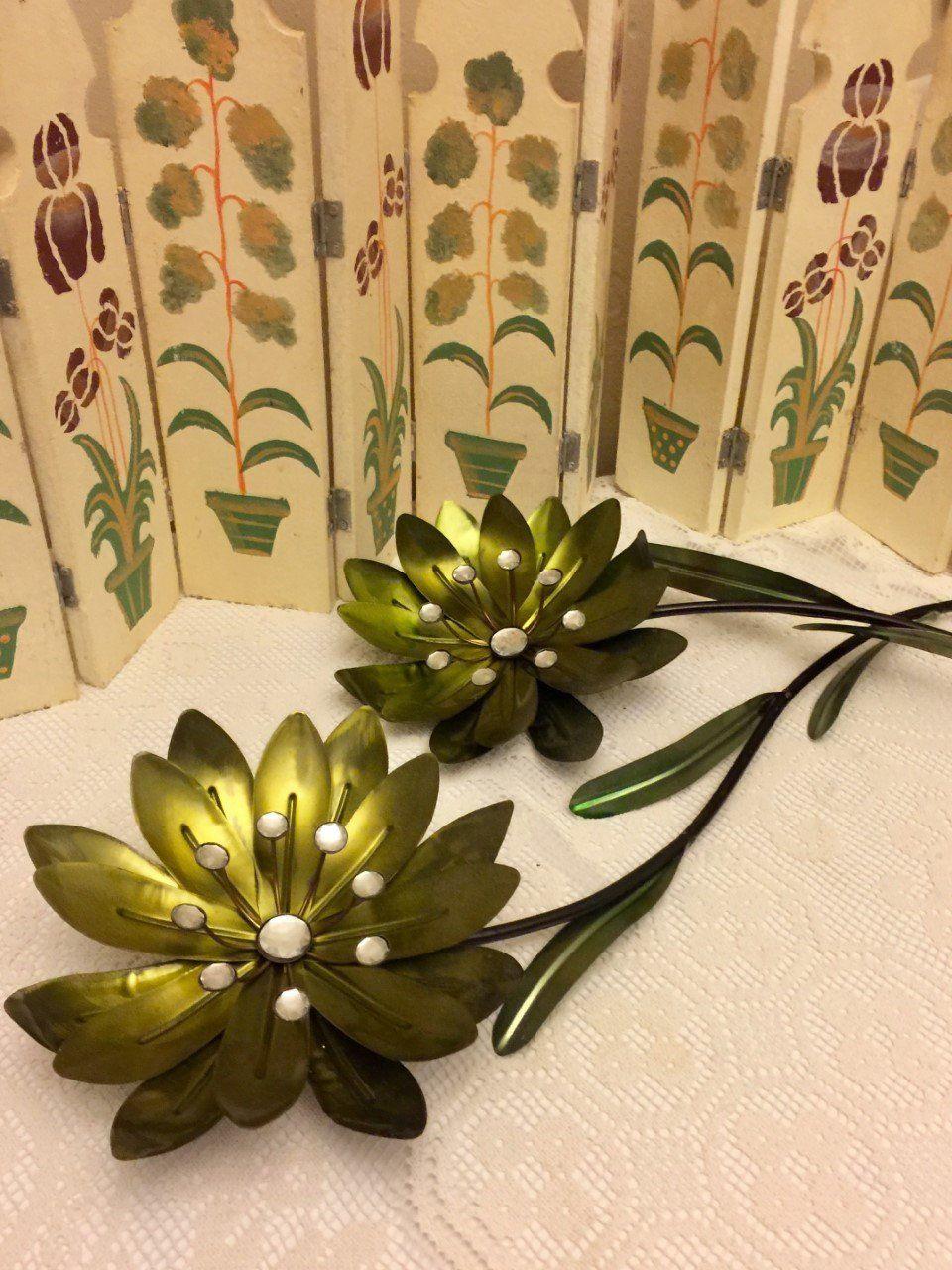 Vintage Metal Gold Green Flower Wall Art Rhinestone Garden Accent