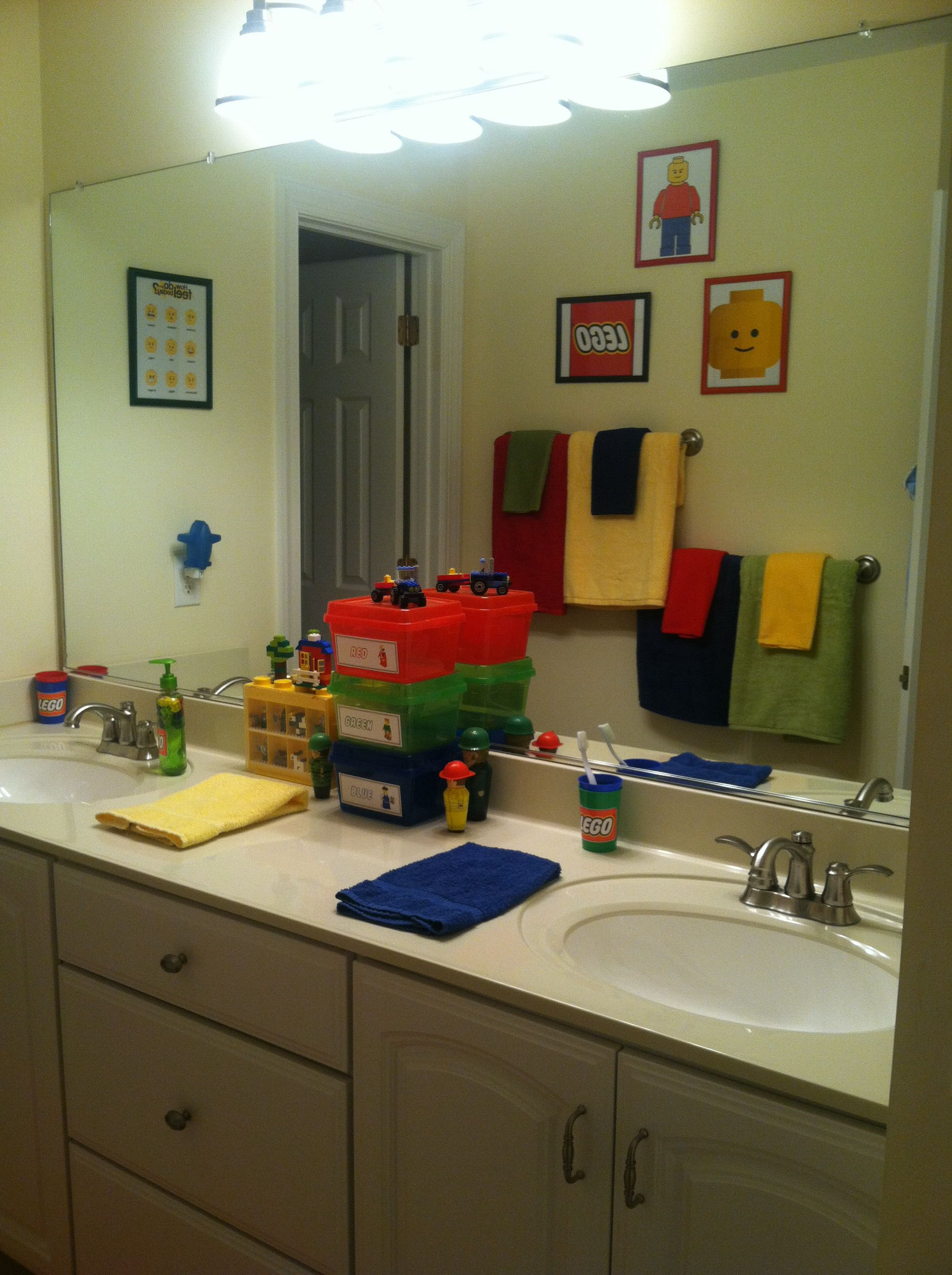 Use Lego Tubs And The Mini Figure Holder To Hold Kids Stuff Color Match Towels