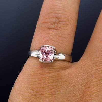 Cushion Cut Chatham Champagne Pink Sapphire Fold S