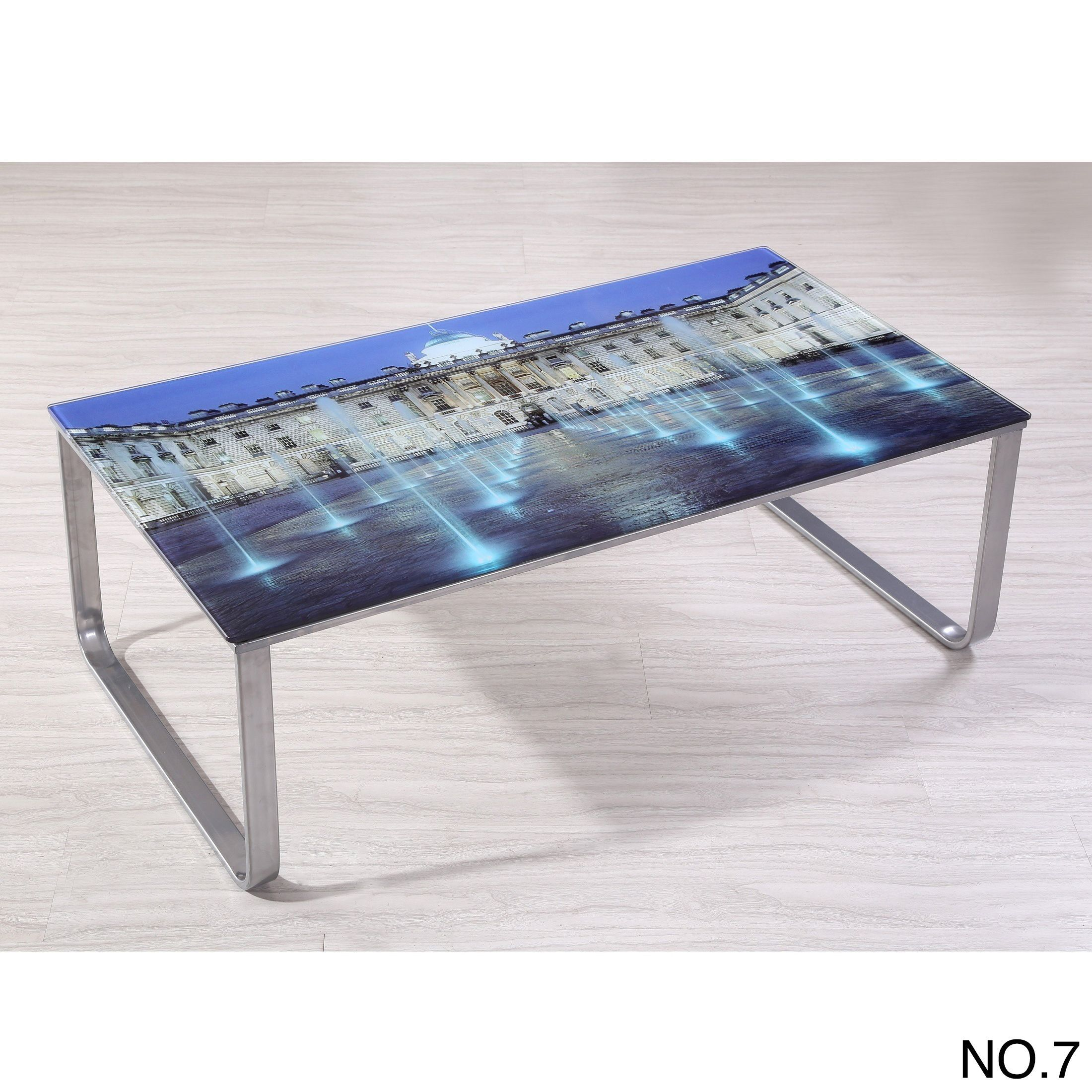 US Pride Furniture Carter Scenery Pattern Glass Top Coffee Table (NO.7 Picture  Glass Top Coffee Table), Silver