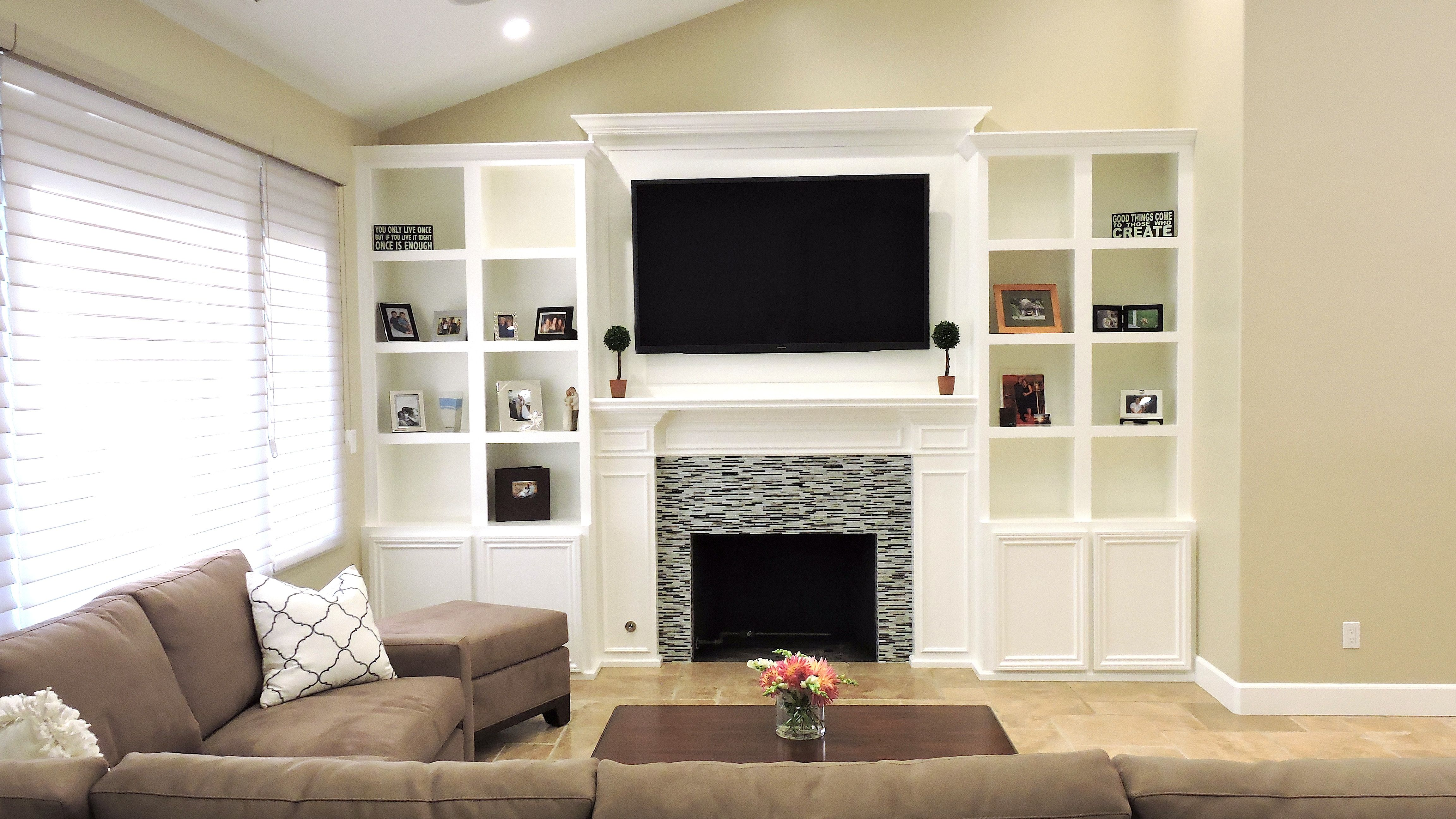 Living Room, Fireplace, Glass Tile Surround, White Built-in ...